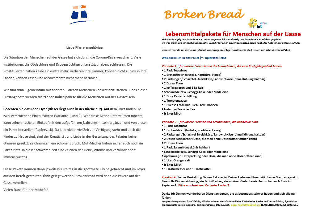 Flyer Lebensmittelpakete Broken Bread